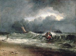 風下側の海岸にいる漁師たち、時化模様